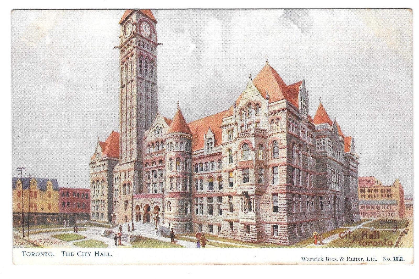 Canada Toronto City Hall Vtg Tuck Oilette Postcard Warwick Bros & Rutter