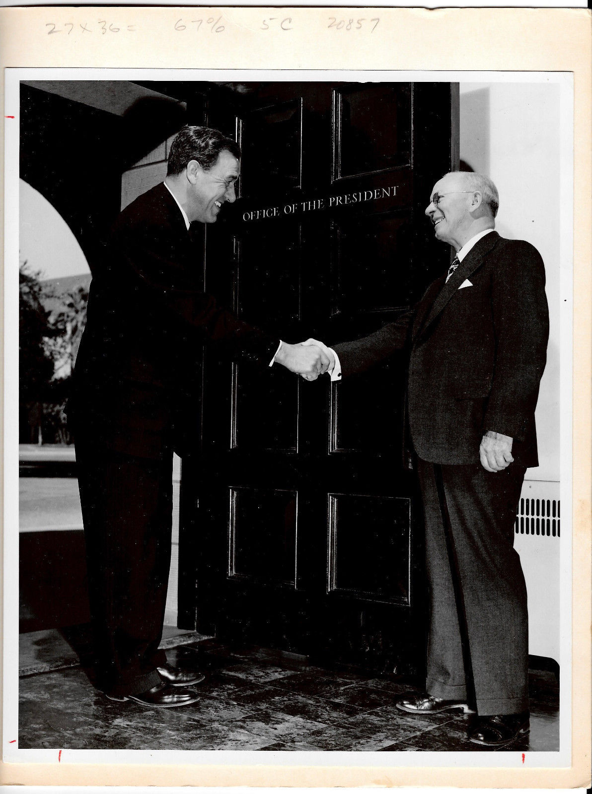Stanford University President Wallace Sterling & Paul Edwards Press Photos 8X10