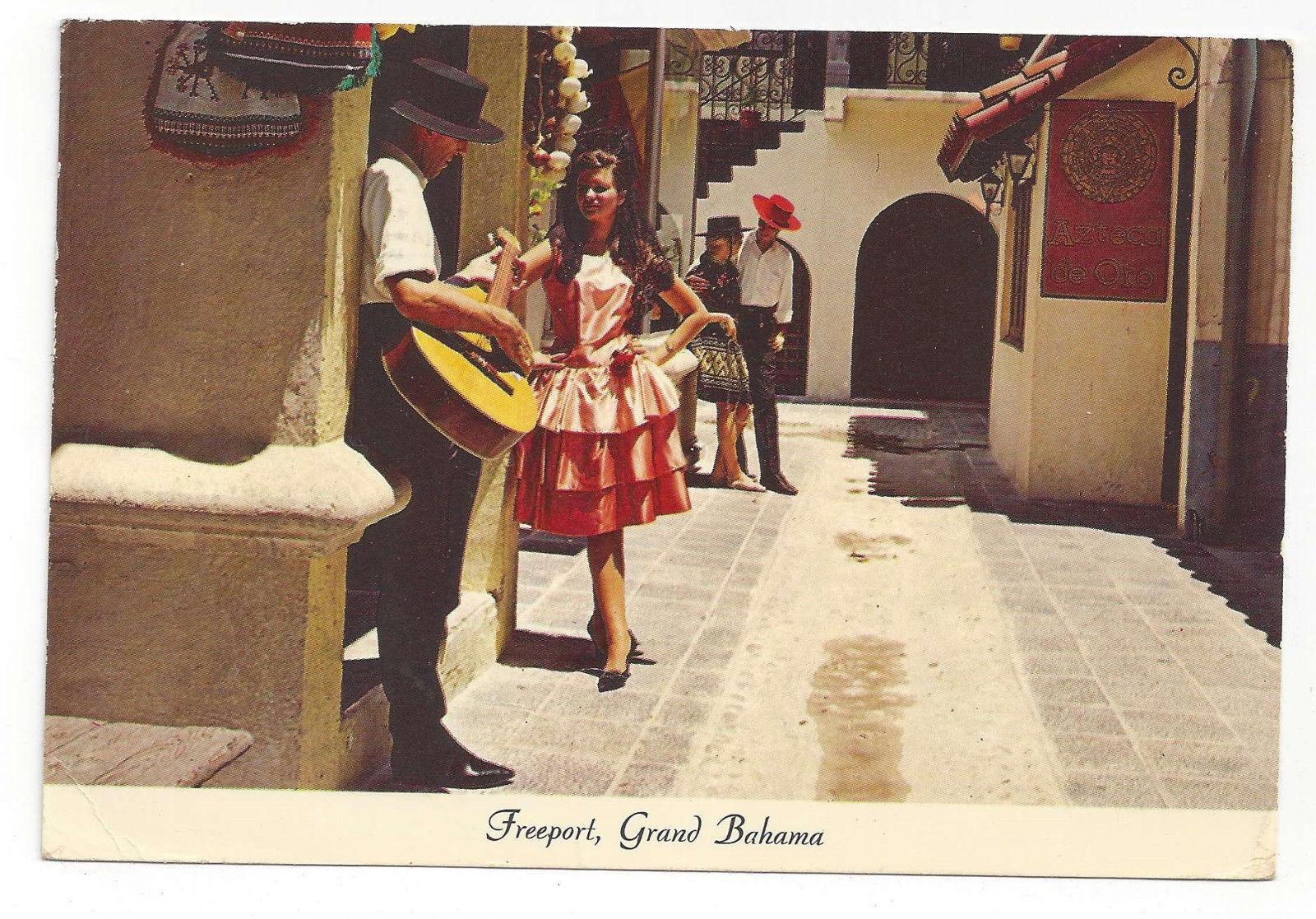 Caribbean Grand Bahama Freeport Spanish Street Bazaar Vtg 1969 Postcard 4X6