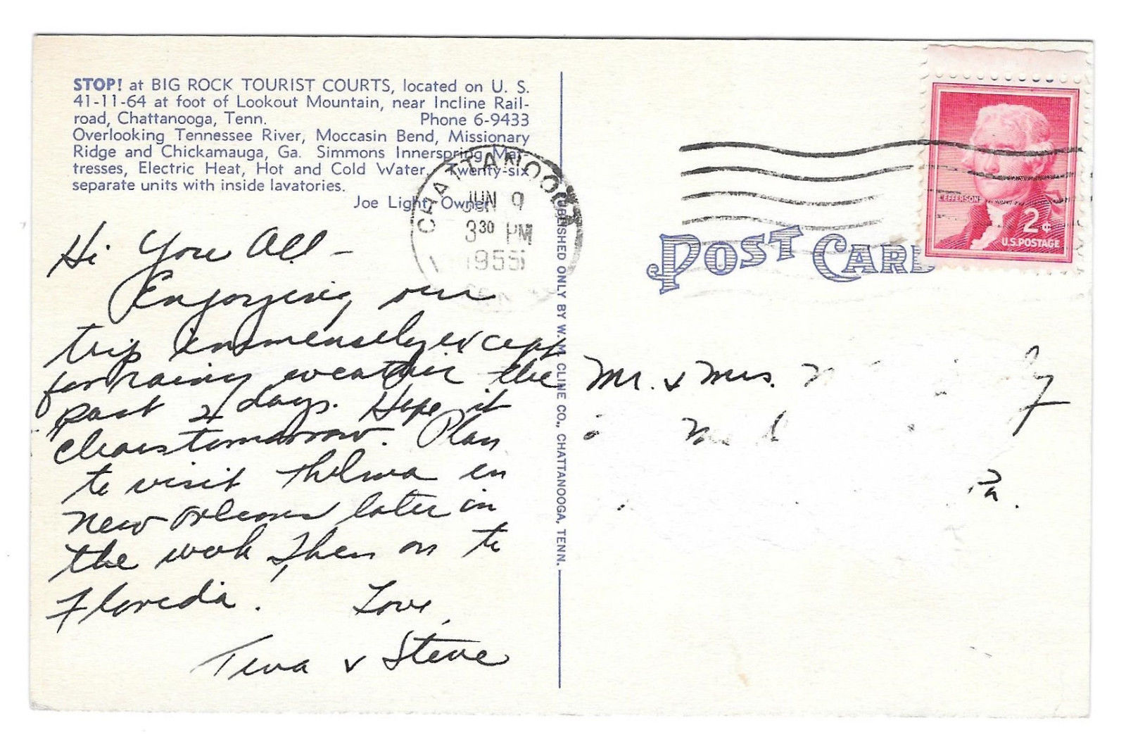 Chattanooga Tennessee Big Rock Tourists Court Motel Vintage Linen 1955 Postcard
