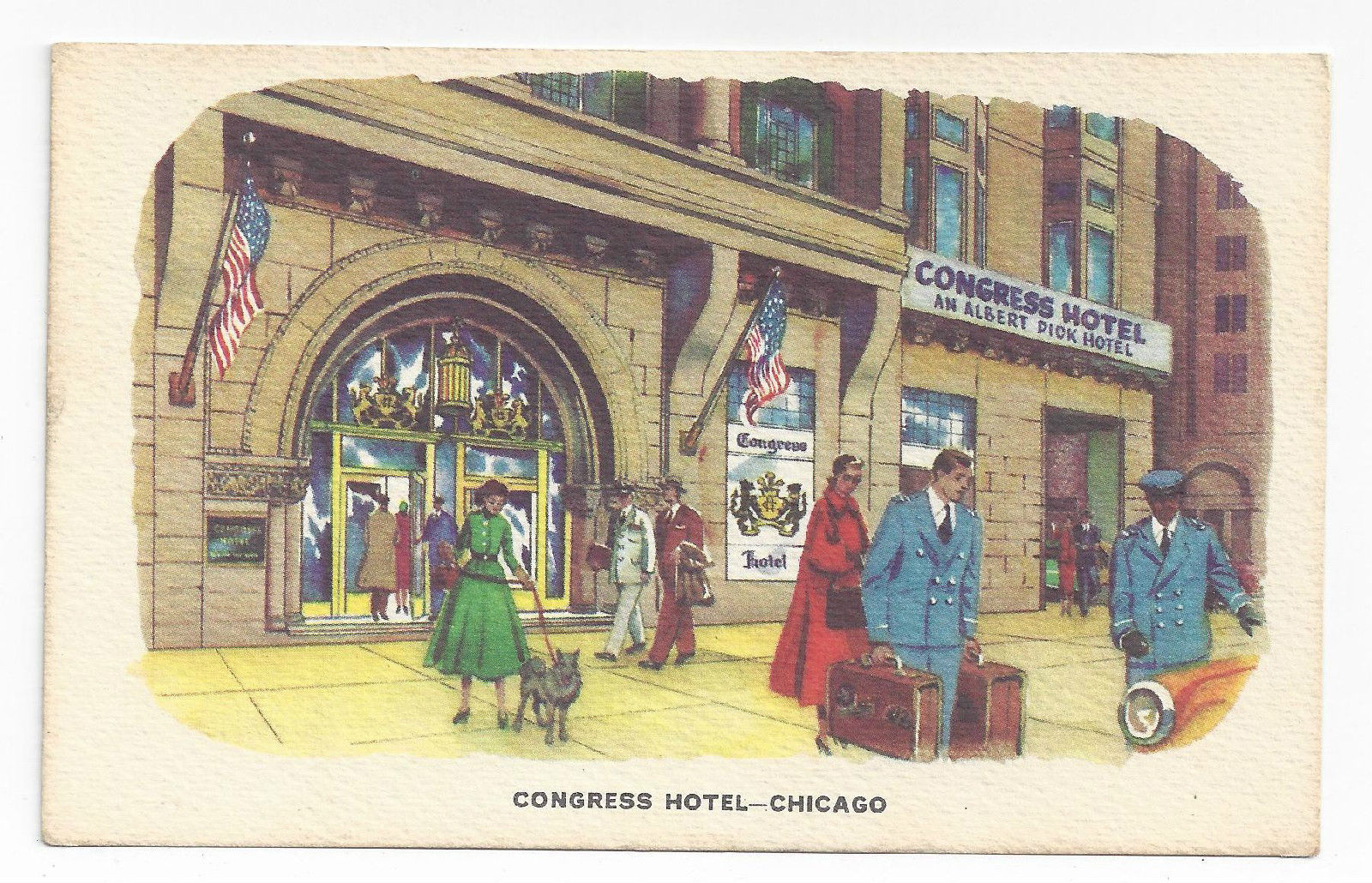 Chicago Illinois Hotel Pick Congress and Congress 2x Advertising Postcards