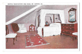 VA Mount Vernon Martha Washington's Bedroom Vtg Postcard Tichnor - $4.74