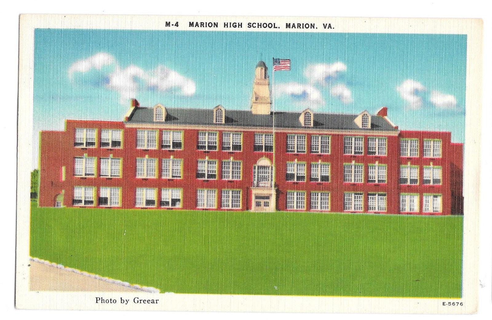 VA Marion High School Vtg Linen Postcard Virginia