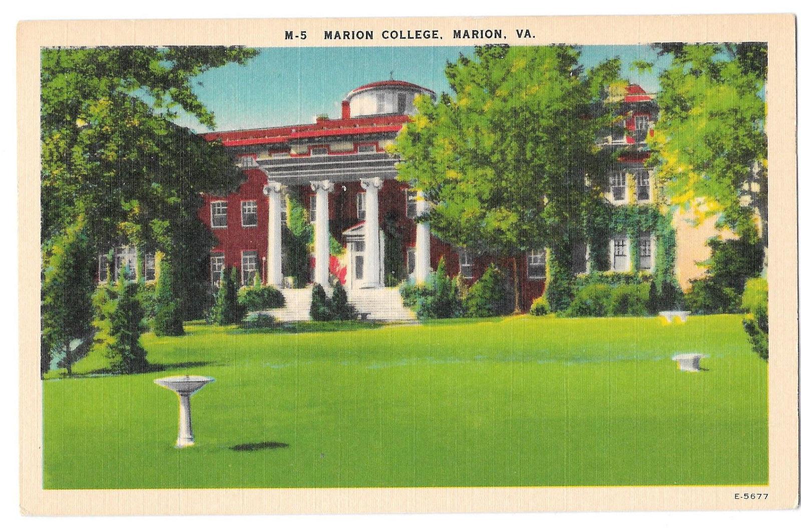 VA Marion College Vtg Linen Postcard Virginia