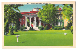 VA Marion College Vtg Linen Postcard Virginia - $4.74