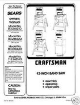 """Craftsman  12 """" Operators Manual 113.248440 - $10.88"""