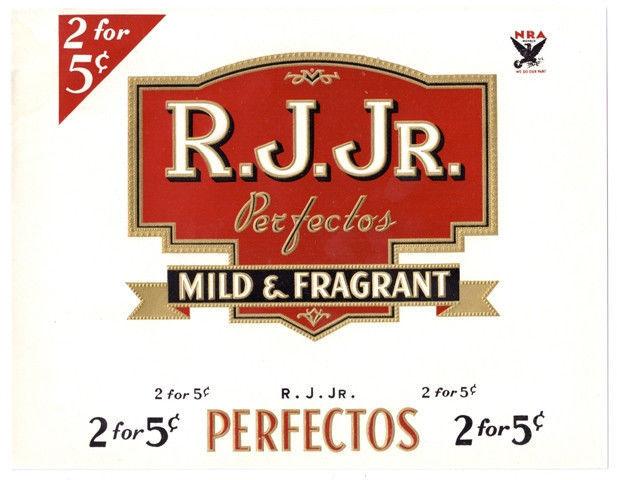 Cigar Box Label Inner R. J. Jr. Embossed NRA logo