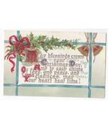 Christmas Postcard Gilded Illuminated Poem Holly Bells Embossed - $6.36