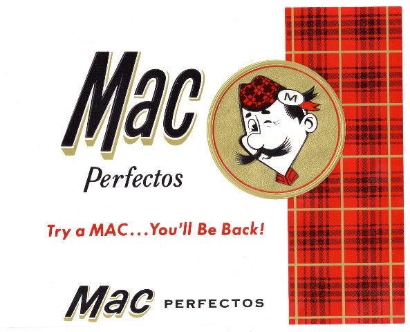Cigar Box Label Mac Perfectos Embossed Scotsman and Tartan