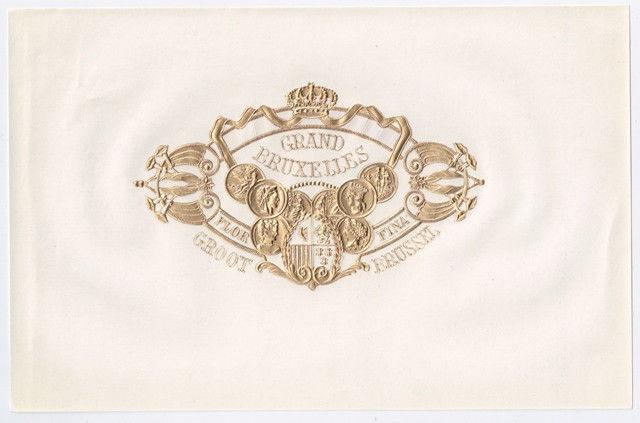 Cigar Box Top Sheet Grand Bruxelles Belgium Embossed Label