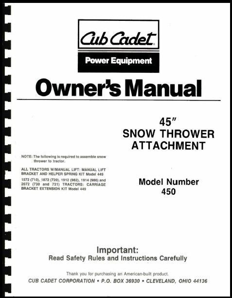 """Cub Cadet 45"""" Snow Thrower Attachment Owners Manual Model No. 190-450-100"""
