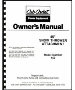 "Cub Cadet 45"" Snow Thrower Attachment Owners Manual Model No. 190-450-100 - $10.88"