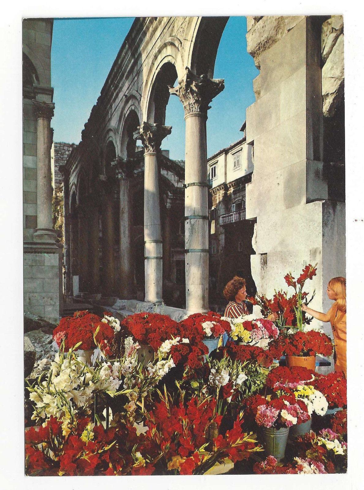 Croatia Split Hotel Peristil Diocletian Palace Arches Vtg Postcard 4X6