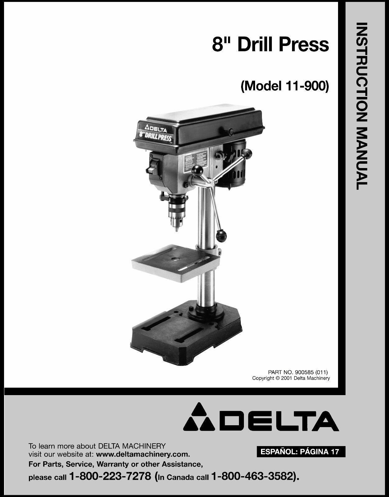 """Delta  8"""" Drill Press Instruction Manual #11-900"""