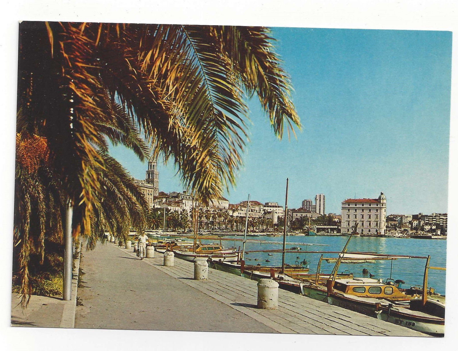 Croatia Split Spalato Port Harbor Boats Vtg Postcard 4X6