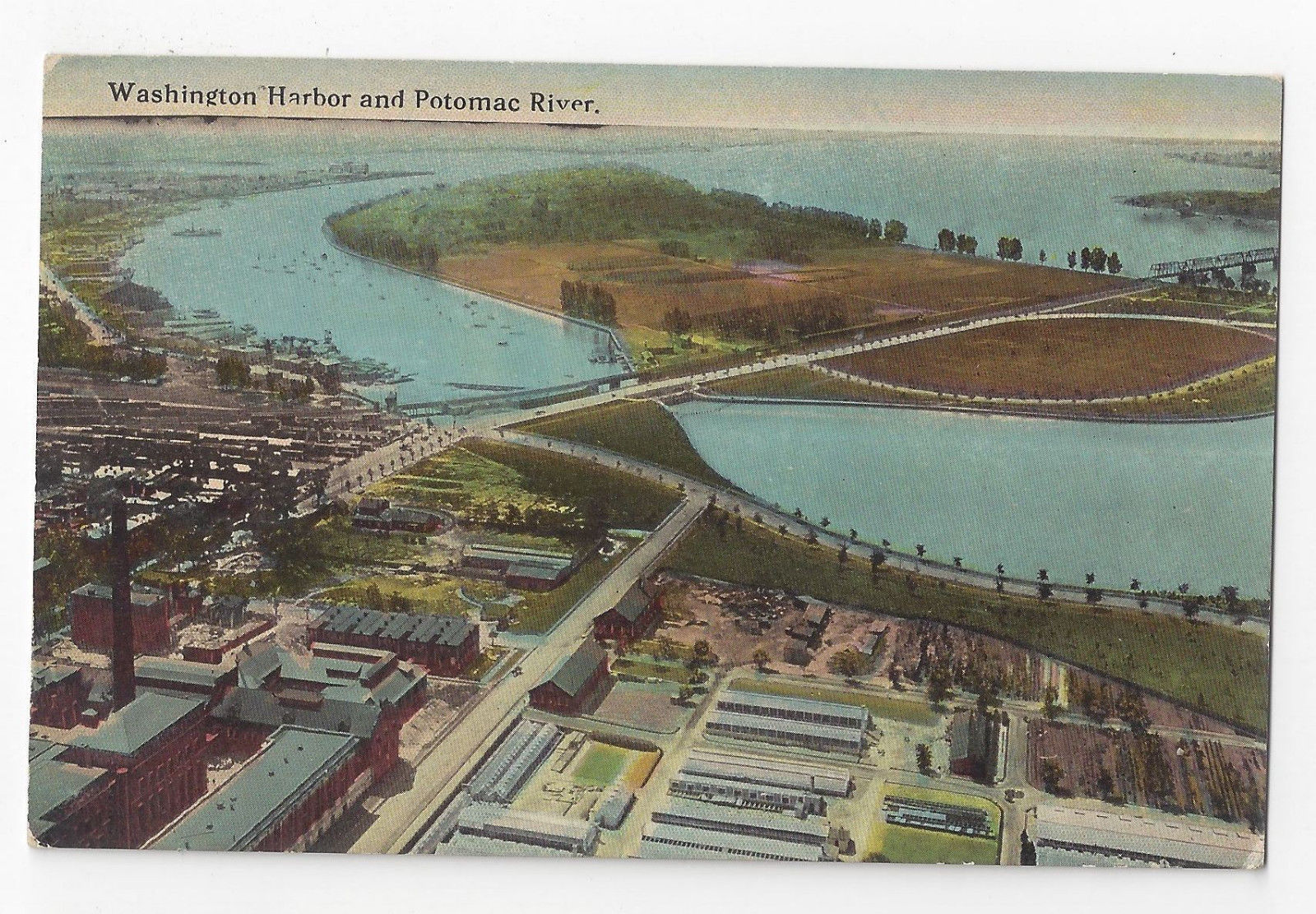 DC Washington Harbor and Potomac River Vintage ca 1910 Postcard