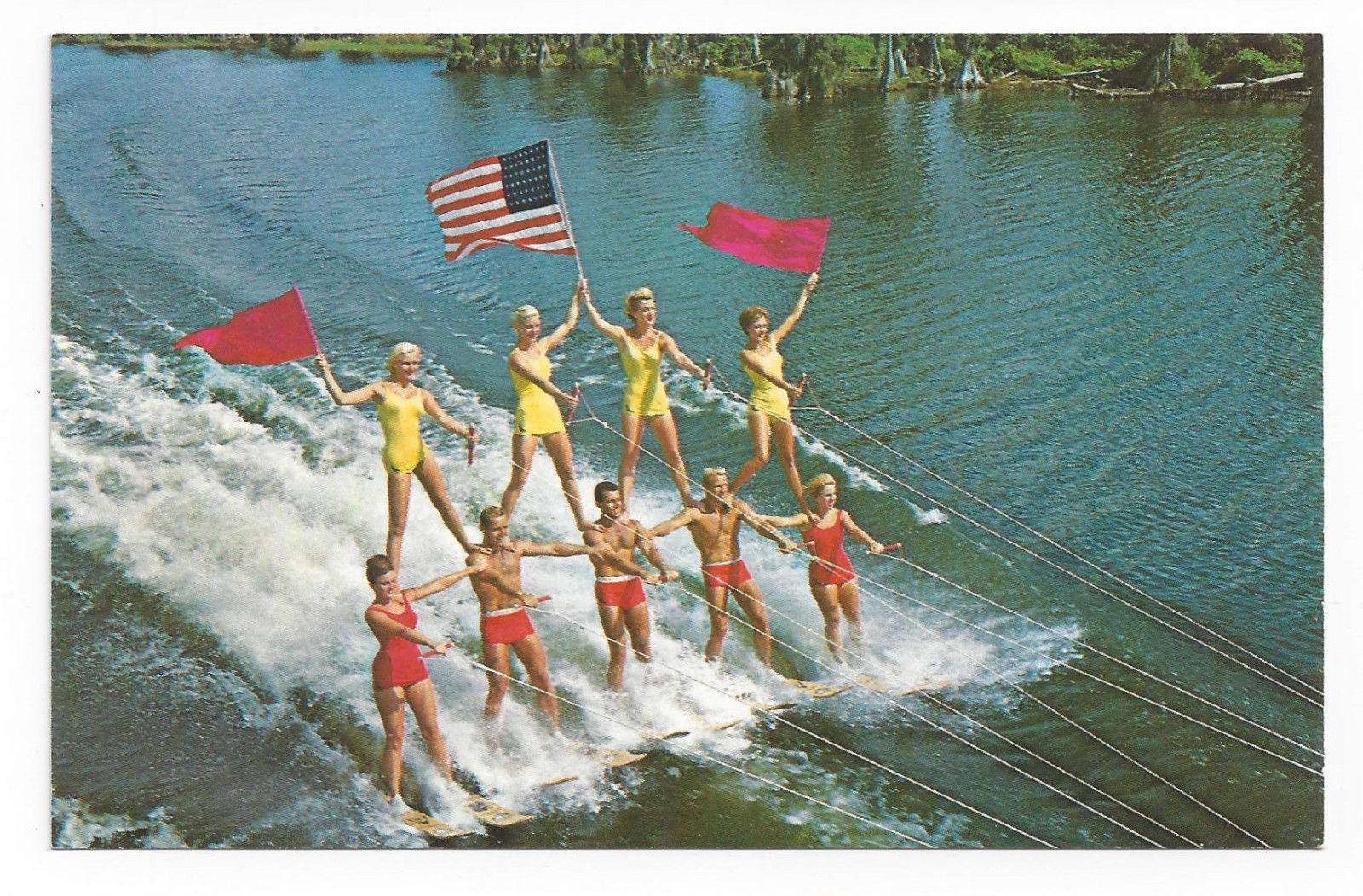 Cypress Gardens Water Skiing Pyramid American Flag Vtg Florida Postcard FL