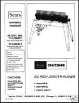 "Craftsman 6 1/8"" Jointer Operators Manual No.113.206931 - $10.88"