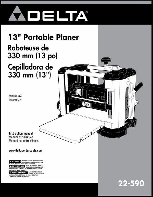 Delta Planer 22-590 Instruction Manual