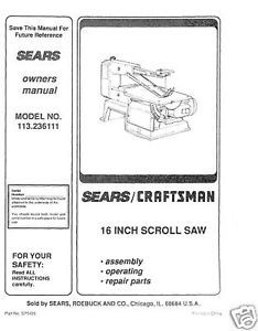 "Primary image for Craftsman 16 "" Scroll Saw Manual Model # 113.236111"