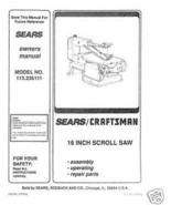 "Craftsman 16 "" Scroll Saw Manual Model # 113.236111 - $10.88"