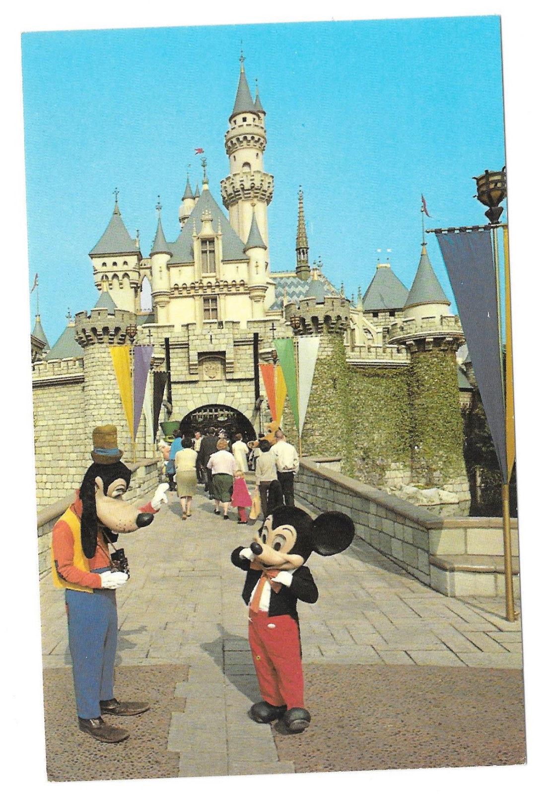 Disneyland Mickey Goofy Sleeping Beauty's Castle Fantasyland Vtg Postcard