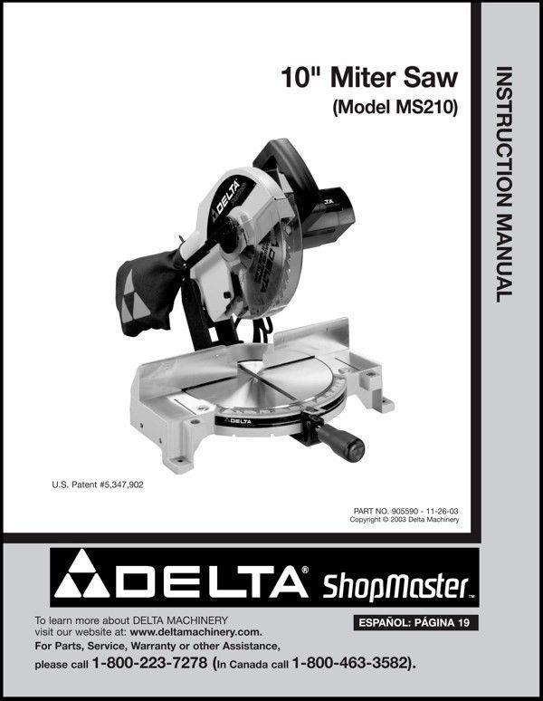 "Delta 10"" Miter Saw Instruction Manual Model No. MS210"