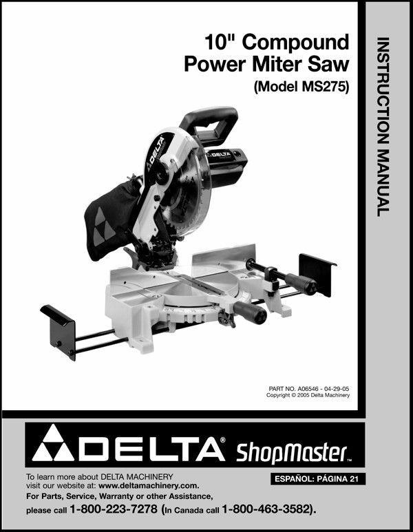 "Delta 10"" Power Miter Saw Instruction Manual Model No. MS275"