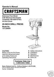 "Craftsman 20 "" DRILL PRESS Manual Model 137.229200"
