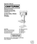 "Craftsman 20 "" DRILL PRESS Manual Model 137.229200 - $10.88"