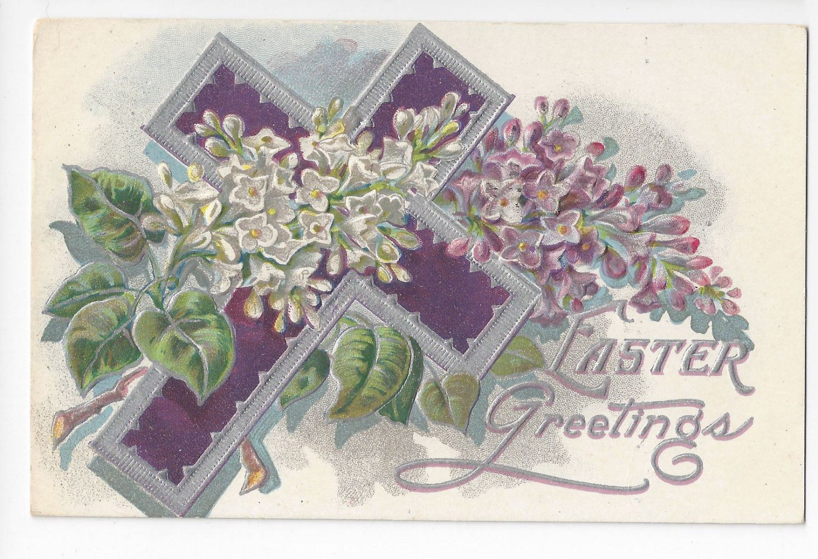 Easter Postcard Silver Cross Forget Me Nots Vintage 1909 Embossed Chromo
