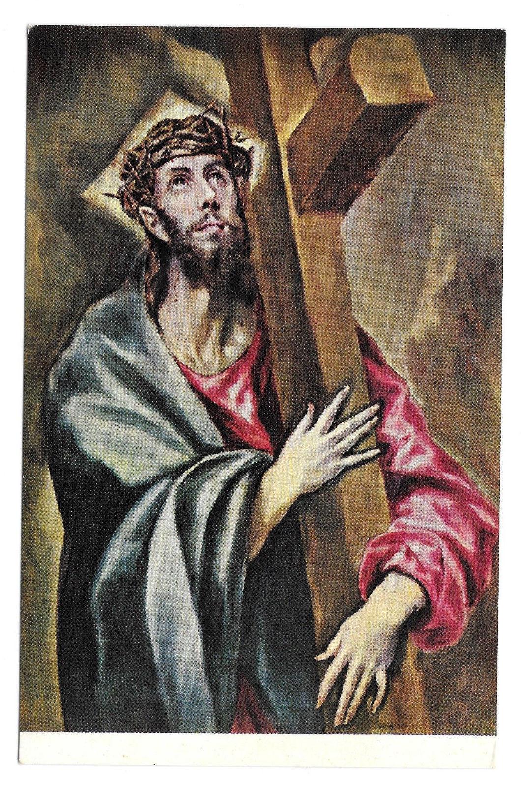 El Greco Christ Embracing the Cross Prado Museum Vtg Art Postcard 4X6