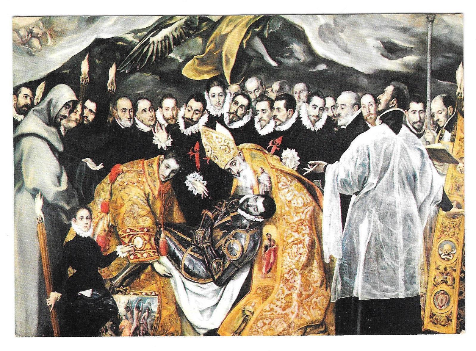 El Greco Burial of Count of Orgaz Detail Santo Tome Church Vtg Art Postcard 4X6