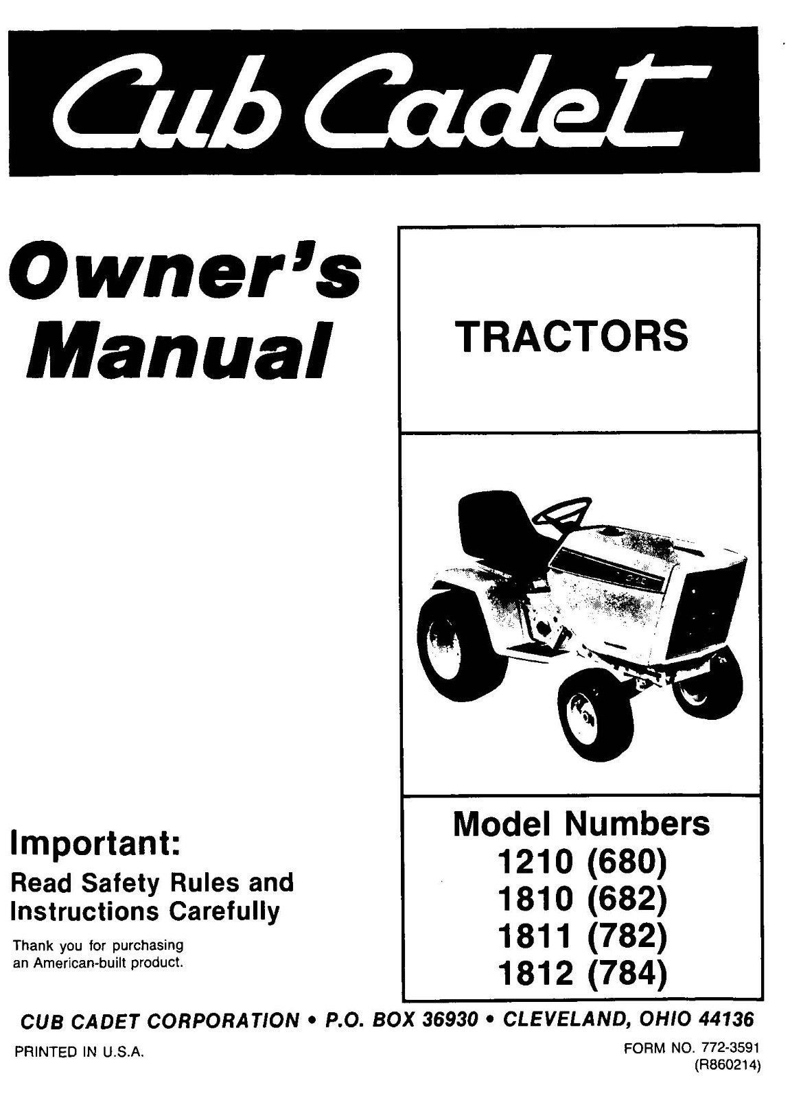 Cub Cadet Owners Manual Model No 1210,1810,1811,1812