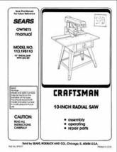 Sears Craftsman  Radial Arm Saw Manual No.113.198110 - $10.88