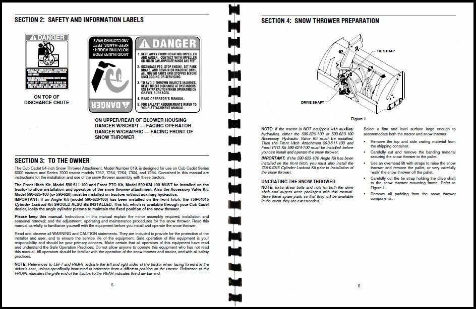"""Cub Cadet 54"""" Snow Thrower Attachment Operators Manual Model No. 590-619-100"""