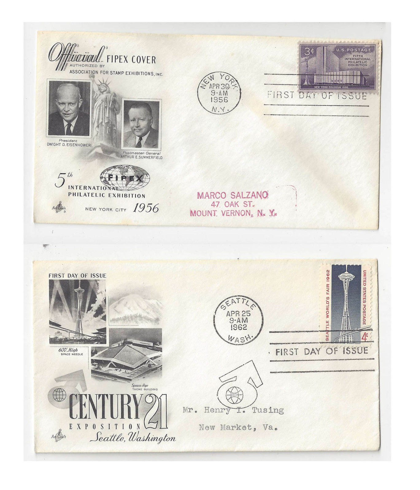 FDC Lot of 2 Sc# 1076 1196 FIPEX Seattle World's Fair Art Craft Cachet
