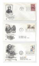 FDC Lot of 3 Sc# 1097 1477 1826 Lafayette American Revolution Art Craft ... - $4.99