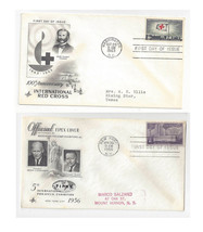 FDC Lot of 2 Sc# 1107 1239  Red Cross Geophysical Year Art Craft Cachet - $4.74