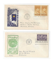 FDC Lot of 2 Sc# 959 969 Progress Women Gold Star Mothers Loor Cachets - $4.74
