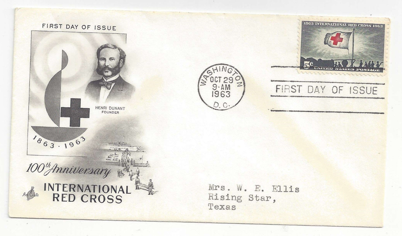 FDC Lot of 2 Sc# 1107 1239  Red Cross Geophysical Year Art Craft Cachet