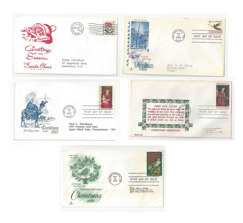 FDC Lot of 5 Sc# 1256 1276 1336 1363 1145 Christmas Artmaster Art Craft Cachets