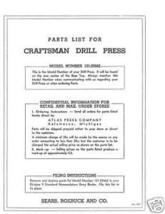 Craftsman DRILL PRESS Manual Model 101.03662 - $10.88