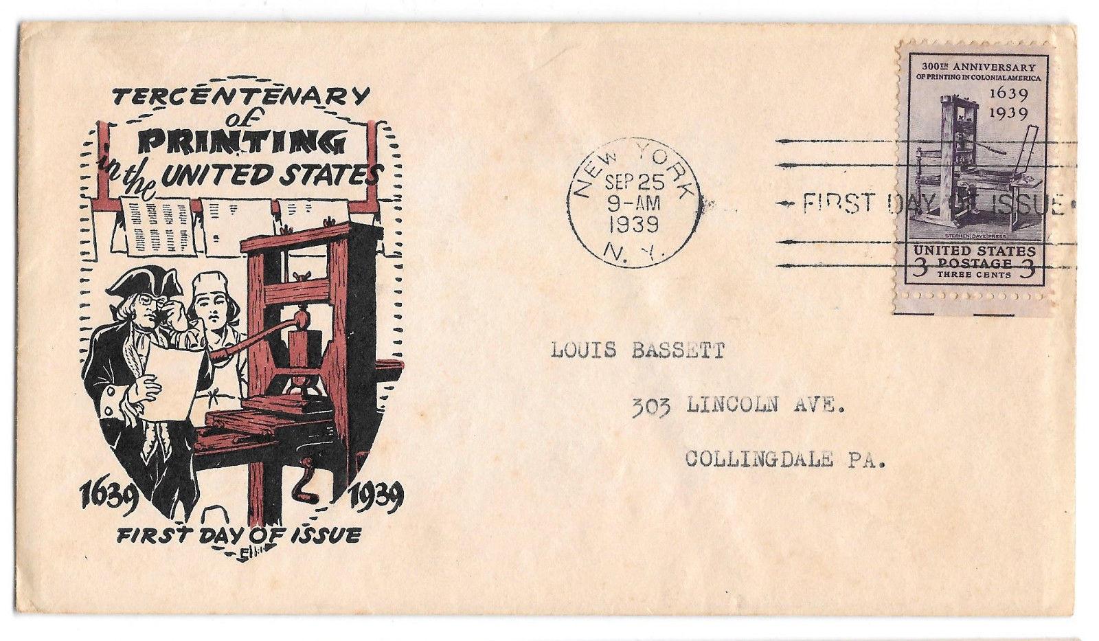 FDC Sc 857 Printing Tercentenary Washington Stamp Exchange Cachet Planty #2