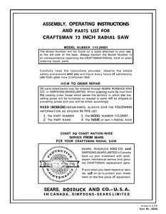 Primary image for Sears Craftsman  Radial Arm Saw Manual No.113.29501