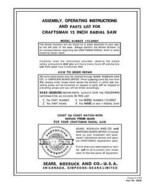 Sears Craftsman  Radial Arm Saw Manual No.113.29501 - $10.88