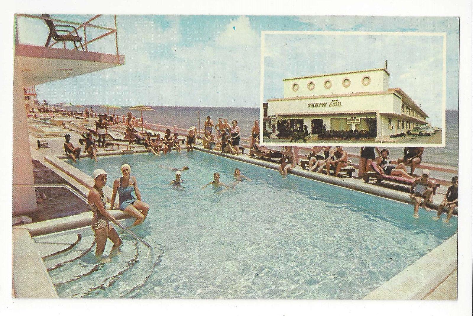 FL Miami Beach Tahiti Motel Swimming Pool Vtg Advertising Postcard