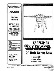 Sears Craftsman  Table Saw Manual Model # 113.298843
