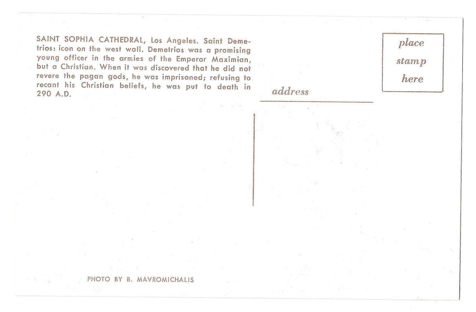 St Demetrios Satan Saint Sophia Cathedral Los Angeles CA Vtg Postcard Christian