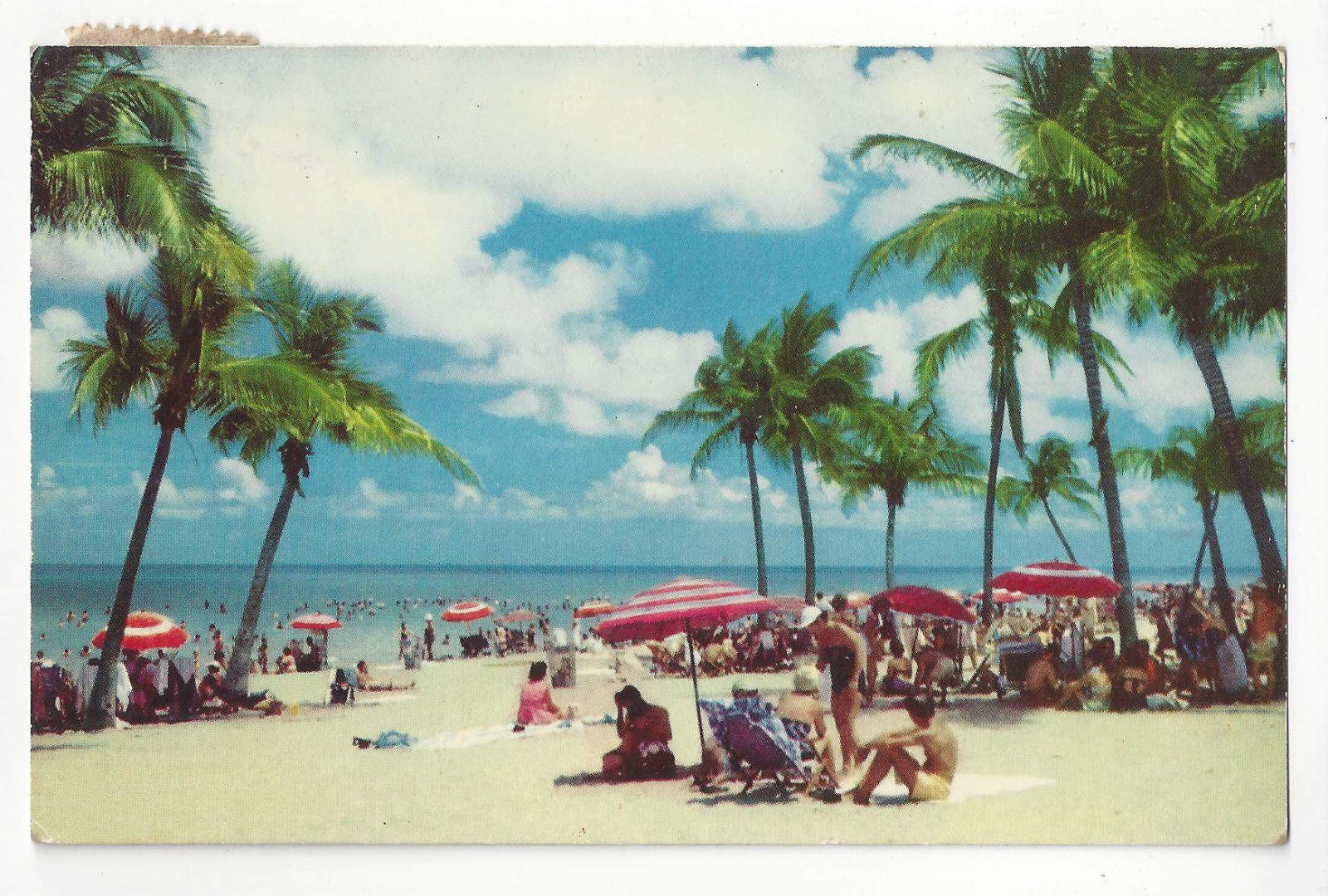 FL Miami World Famous Beach Vtg 1954 Hannau Postcard